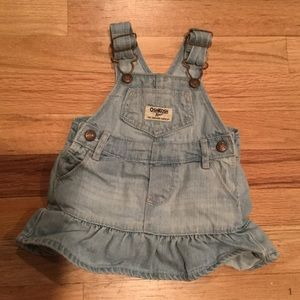 Oshkosh bgosh overall ruffle dress denim jean girl